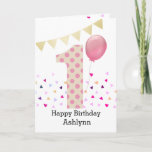 """Polka Dot Pink 1st Birthday Girl Card<br><div class=""""desc"""">A colorful pink 1st birthday girl card, which you can personalize with her name. The front of this trendy 1st birthday card for her features the number one in a pink polka dot with a pink balloon ready to float away.The background has some colorful confetti and a soft gold bunting...</div>"""