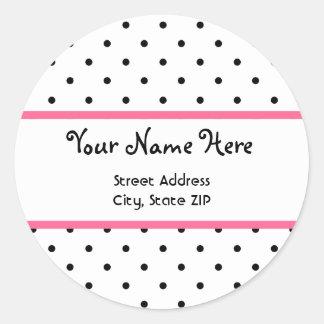 Polka Dot & Pink Address Sticker