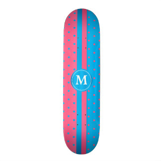 Polka Dot Pink and Blue _ Monogram Skateboard