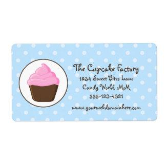 Polka Dot Pink and Brown Cupcake Label