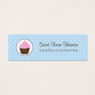 Polka Dot Pink and Brown Cupcake Mini Business Card