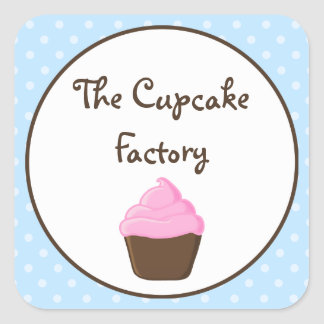 Polka Dot Pink and Brown Cupcake Square Stickers
