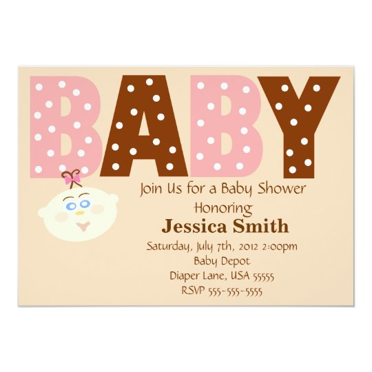 Polka Dot Pink and Brown Personalized Baby Shower Card