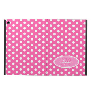 Polka dot pink and white patterned ipad folio case