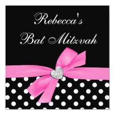 Polka Dot Pink Black Bow Heart Bat Mitzvah Invitation