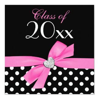 Polka Dot Pink Black Bow Heart Graduation Party Custom Invites
