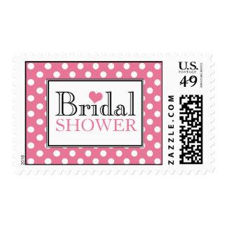 Polka Dot Pink Bridal Shower Postage Stamps