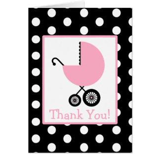 Polka Dot & Pink Carriage Baby Shower Thank You Cards
