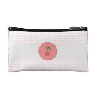 Polka Dot {pink} Cherry Makeup Bags