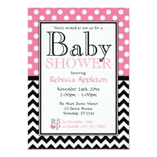 Polka Dot Pink & Chevron Baby Shower Card