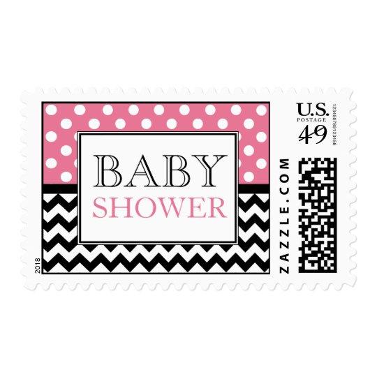 Polka Dot Pink & Chevron Baby Shower Postage