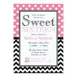 "Polka Dot Pink & Chevron Sweet Sixteen Invitations 5"" X 7"" Invitation Card"