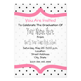 Polka Dot Pink Class of 2011 Graudation Invite