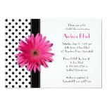 "Polka Dot Pink Daisy Bridal Shower Invitation 5"" X 7"" Invitation Card"