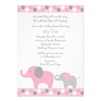 Polka Dot Pink Elephant Baby Shower Invitations