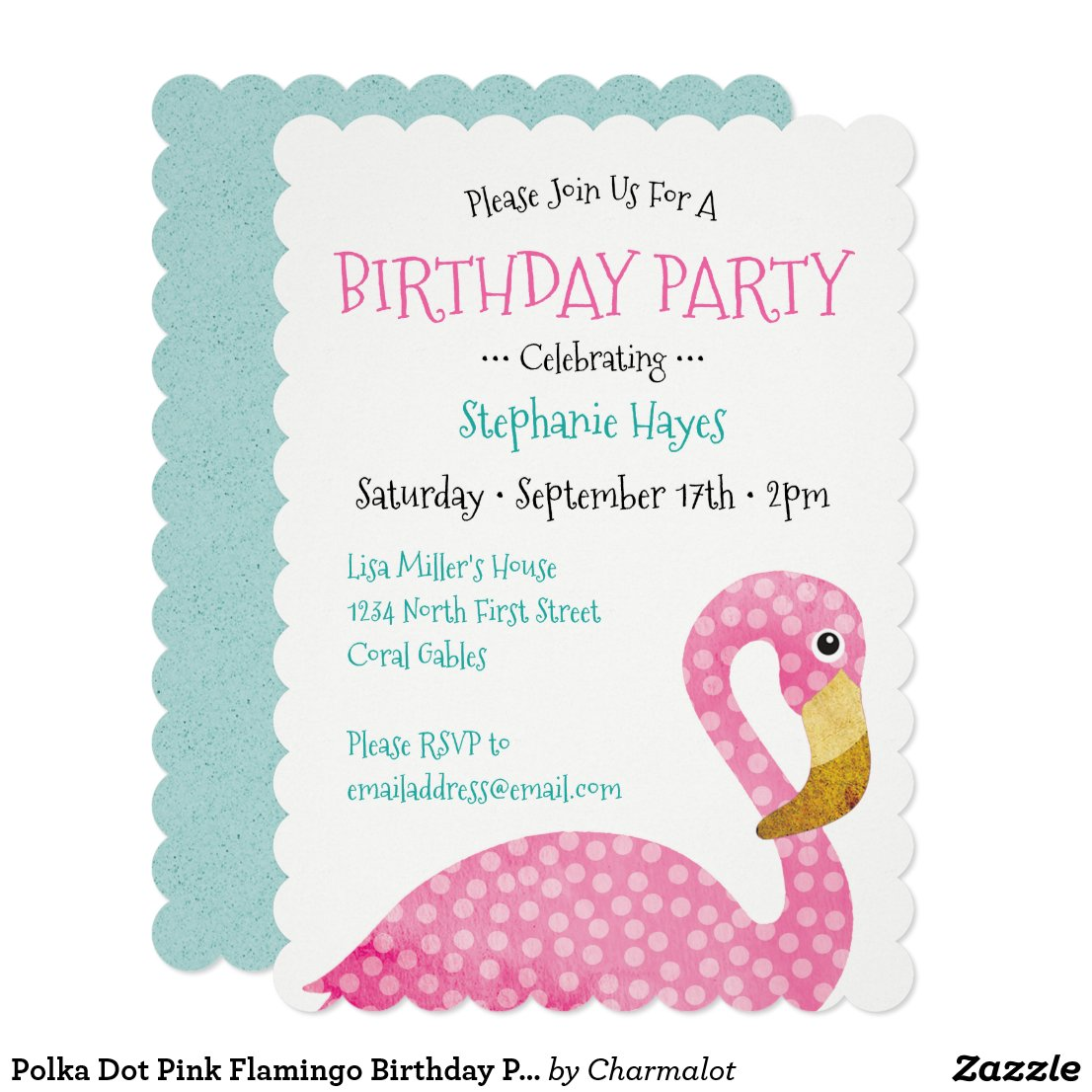 Polka Dot Pink Flamingo Birthday Party Card