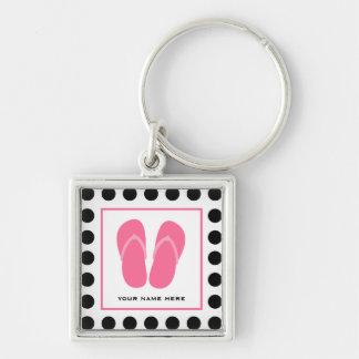 Polka Dot & Pink Flip Flops Key Chain