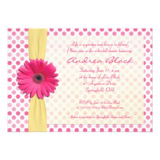 Polka Dot Pink Gerber Bridal Shower Invitation
