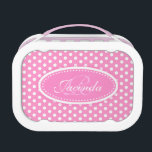 """Polka dot pink girls name &amp; monogram lunch box<br><div class=""""desc"""">Bright modern pink and white graphic girls polka dot patterned lunch box perfect for a girls of all ages. A great gift for a child or teen to take to school or college. Personalize this lunch container with the first name and family initial of your choice to prevent loss. Customize...</div>"""