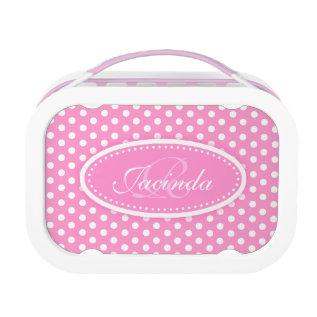 Polka dot pink girls name & monogram lunch box at Zazzle