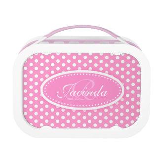 Polka dot pink girls name & monogram lunch box