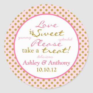 Polka Dot Pink Gold White Candy Buffet Stickers