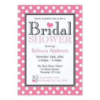 Polka Dot Pink Heart Bridal Shower Invitations