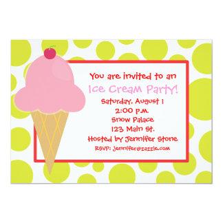 Polka Dot Pink Ice Cream Cone Invitations