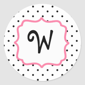 Polka Dot & Pink Monogram Sticker
