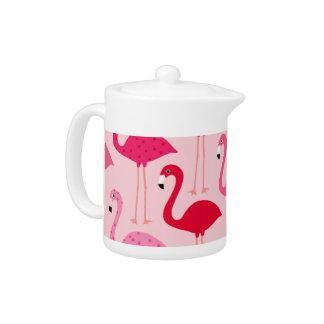Polka Dot Pink Painted Flamingo Pattern Teapot