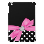 Polka Dot Pink Printed Bow Diamond Heart Case For The iPad Mini