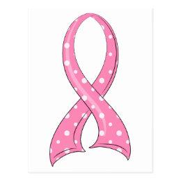 Polka Dot Pink Ribbon Breast Cancer Postcard