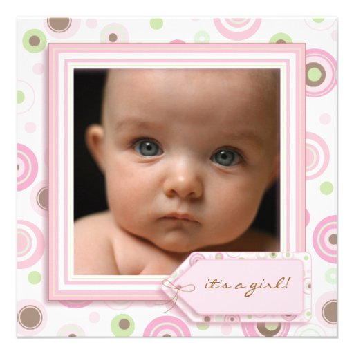 Polka Dot Pink Sweet Baby Girl Birth Announcement
