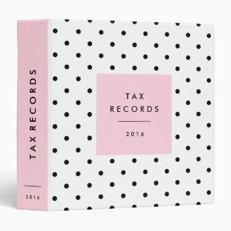 Polka Dot Pink Tax Records 3 Ring Binder