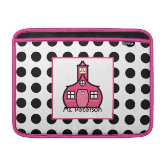 Polka Dot & Pink Teacher Macbook Air Sleeve