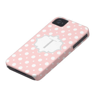 Polka dot pink, white, grey monogram girly iPhone 4 cover