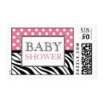 Polka Dot Pink & Zebra Print Baby Shower Postage