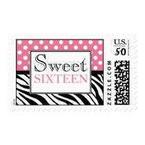 Polka Dot Pink & Zebra Print Sweet Sixteen Postage