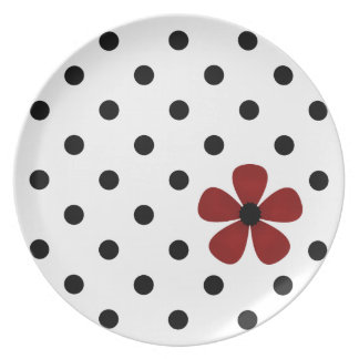 Polka Dot Plate with Red Flower - Black White