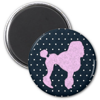 Polka Dot Poodle 2 Inch Round Magnet