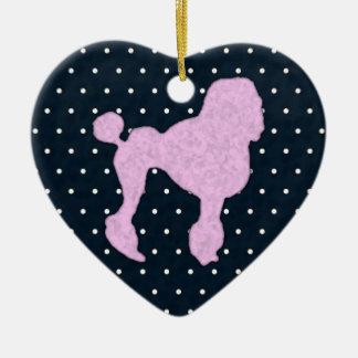 Polka Dot Poodle Ceramic Ornament