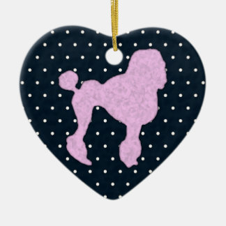 Polka Dot Poodle Double-Sided Heart Ceramic Christmas Ornament