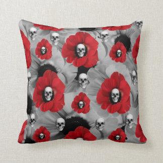 Polka dot poppies and skulls pillow