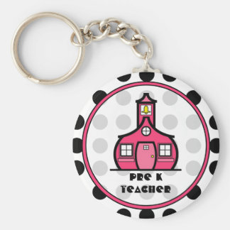 Polka Dot Pre K Teacher Keychain