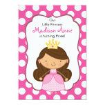 "Polka Dot Princess Birthday Invitation Brunette 5"" X 7"" Invitation Card"