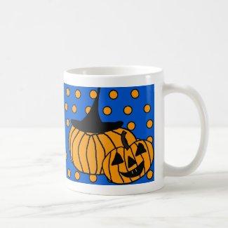 Polka Dot Pumpkin Mug Halloween Blue Orange Mugs