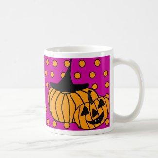Polka Dot Pumpkin Mug Halloween Pink Orange Coffee Mugs