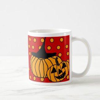 Polka Dot Pumpkin Mug Halloween red Halloween Mug