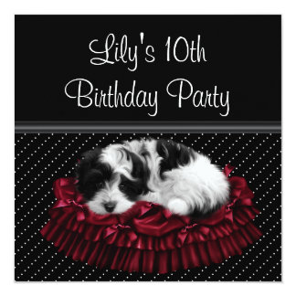 Polka Dot Puppy Girl's 10th Birthday Party 5.25x5.25 Square Paper Invitation Card
