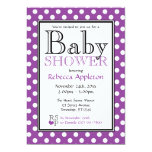 Polka Dot Purple Baby Shower Invitations